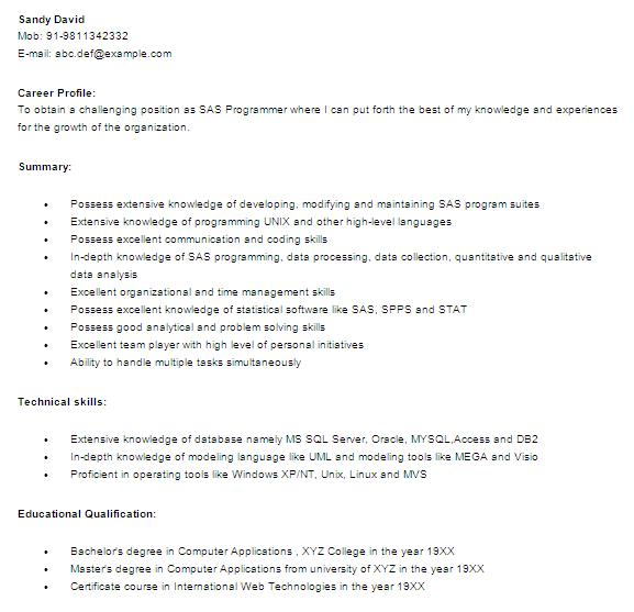 sas programmer resume example