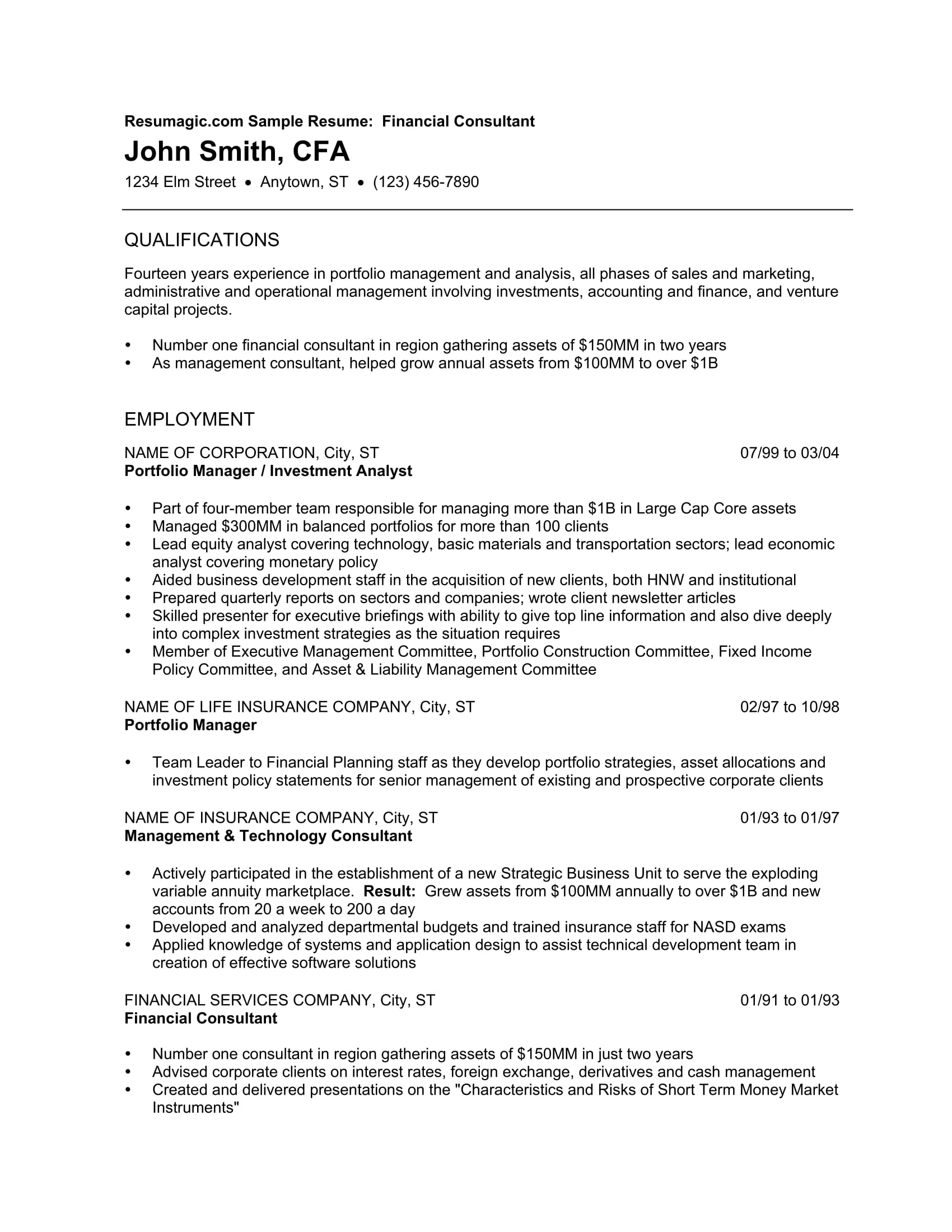 Mba Finance Resume Free Download 24 Best Finance Resume Sample Templates Wisestep