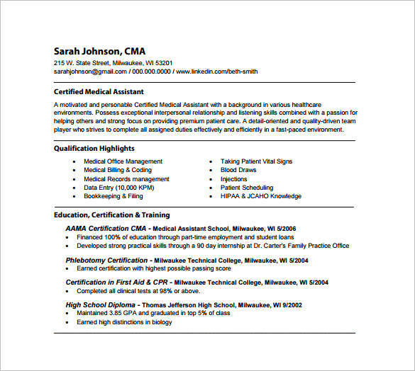 medical assistant resume highlights