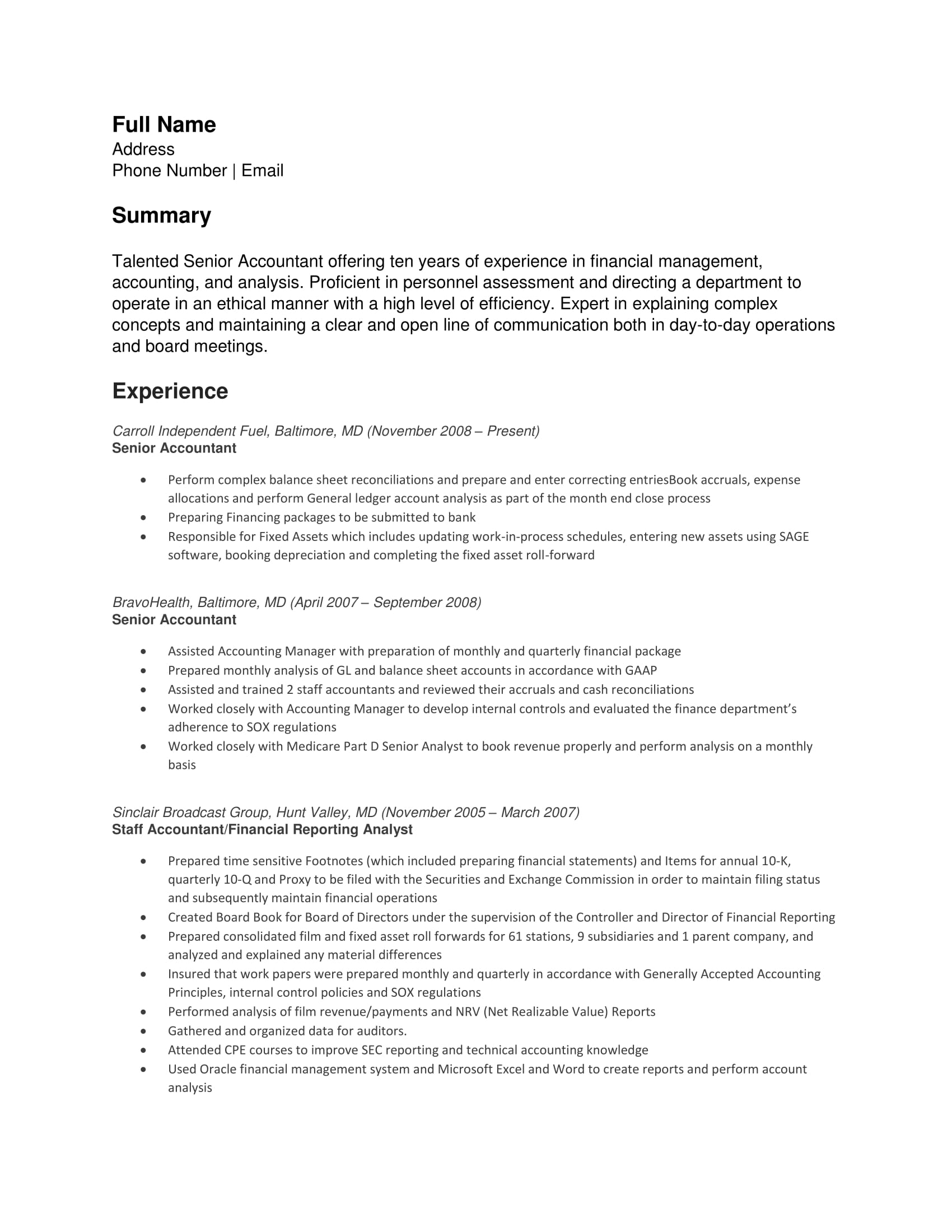 Senior Accountant Resume 24 Best Finance Resume Sample Templates