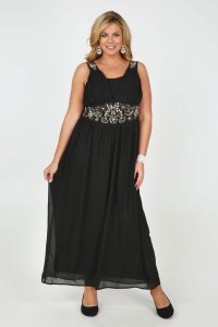 Black Chiffon Maxi Dress With Sequin And Bead ...