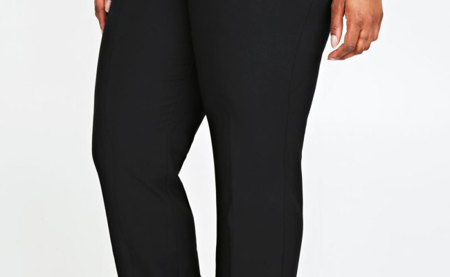 Black Classic Straight Leg Trousers With Pockets Plus Size
