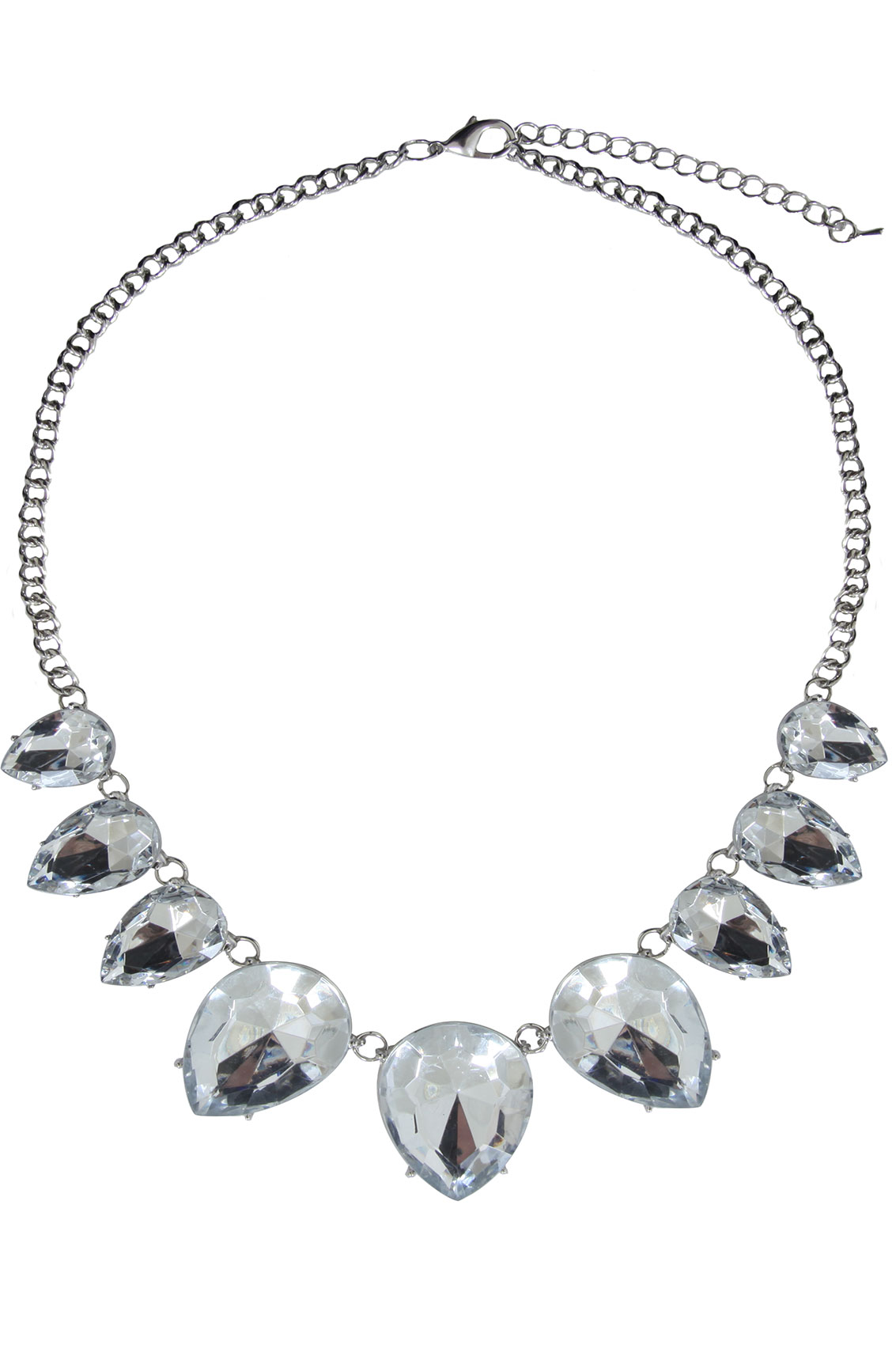 Silver Crystal Stone Statement Necklace