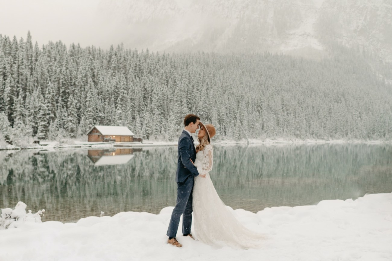 Snowy Elopement in Lake Louise, Banff Canada