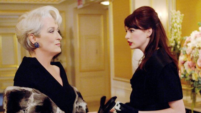 "Meryl Streep and Anne Hathaway in ""The devil Wears Prada"""