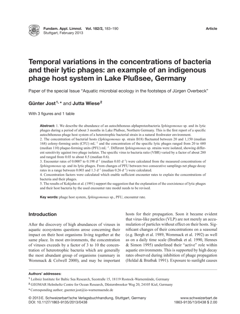 Temporal Variations In The Concentrations Of Bacteria And Their