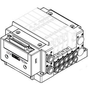 SS5Y3-10, 3000 Series Manifold, D-sub Connector, Flat