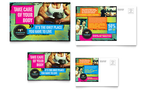 Personal Training Postcard Templates Sports & Fitness