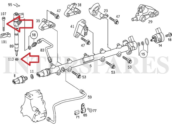 5 injector gaskets + 5 holder bolts Mercedes W203 W210