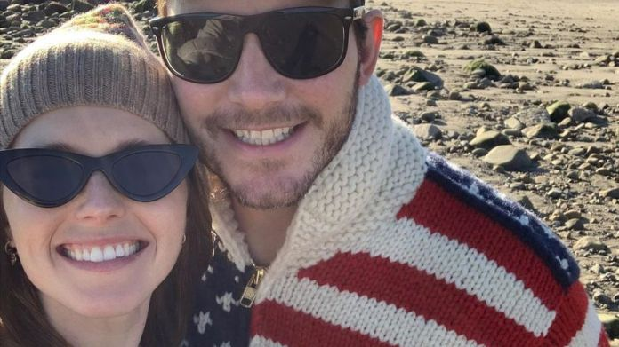 Katherine Schwarzenegger, Chris Pratt and their daughter Lyla in December 2020