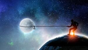 man lasso moon sky earth