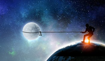 man lasso moon sky earth