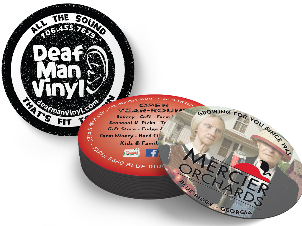 mercier orchards and deaf man vinyl coasters