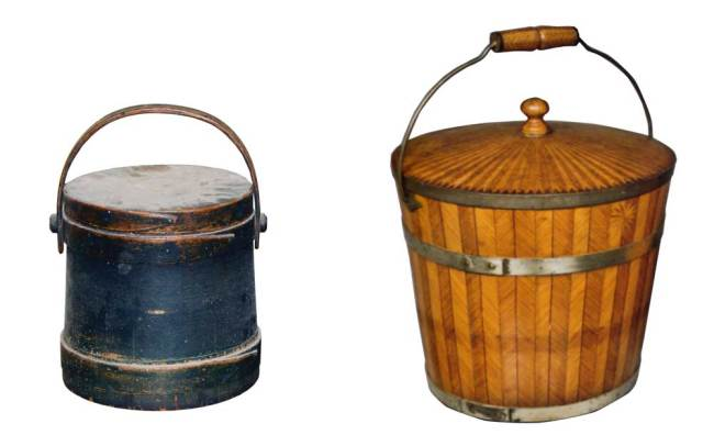 ooden buckets along with firkins, piggins, pantry boxes, churns, and other essential containers during the 18th and 19th centuries