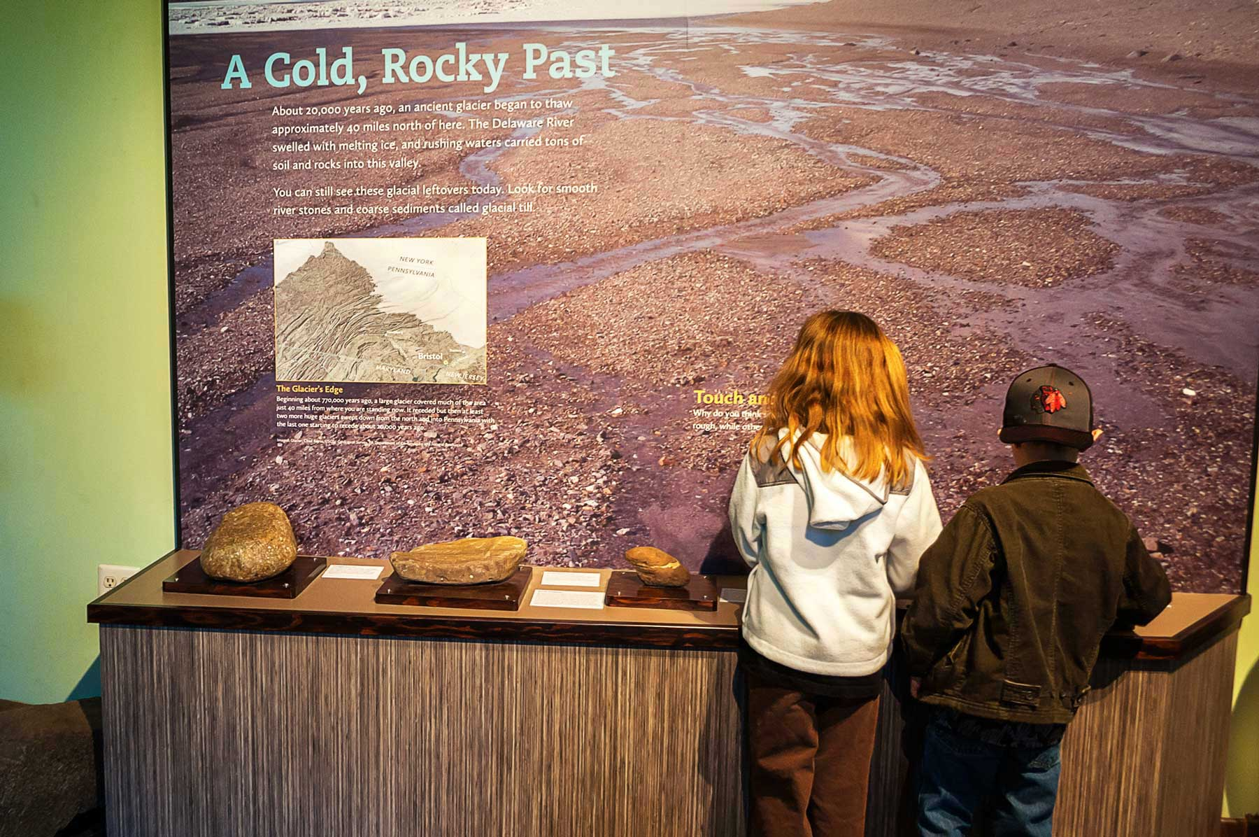 Silver Lake came to be with the receding of the glaciers. Different rock types are identified in a tactile exhibit.