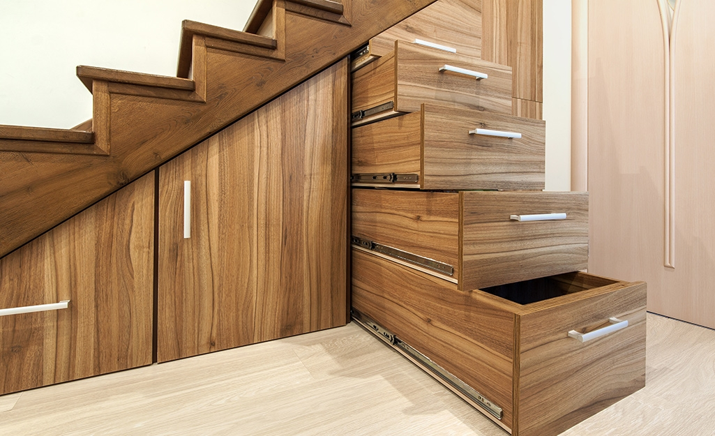 Basement Storage Ideas The Home Depot   Best Wood For Basement Stairs   Stair Risers   Stair Treads   Handrail   Modern Stair Railing   Basement Renovations