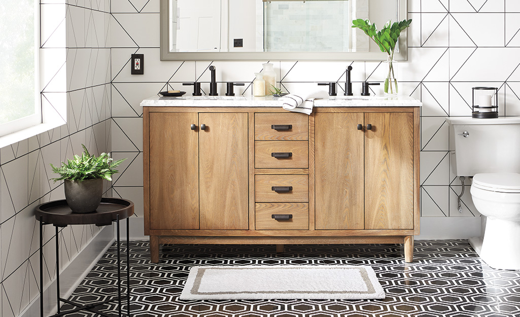 marble tile with dark grout galleries