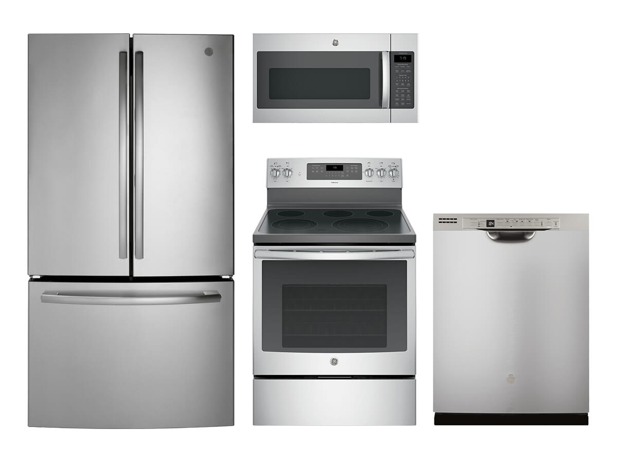 wholesale kitchen appliances online cabinet layout tool appliance packages the home depot ge stainless steel 4 pc suite