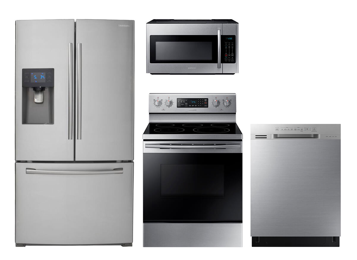lg kitchen appliance packages ikea storage cabinets the home depot samsung stainless steel 4 pc suite