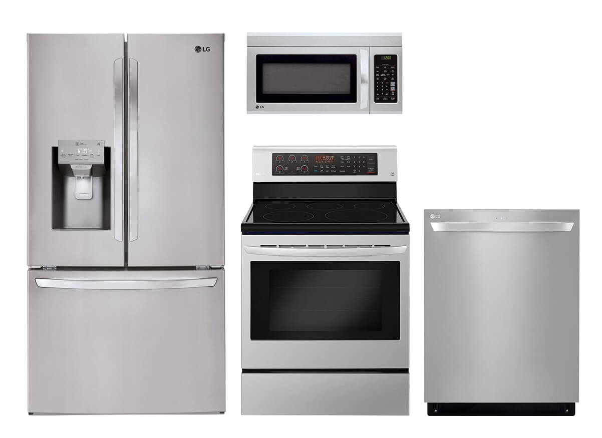 kitchen appliance packages stainless steel island pottery barn the home depot lg 4 pc suite