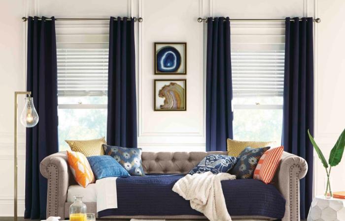 blinds for living room fake flowers the home depot vinyl