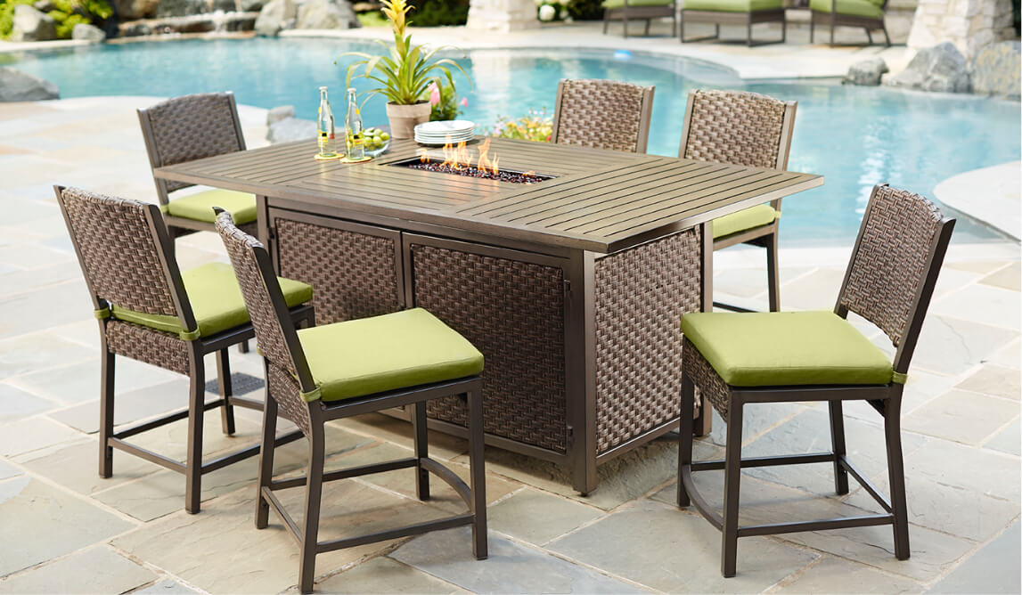 outdoor bar table and chairs medical reclining furniture the home depot height patio tables