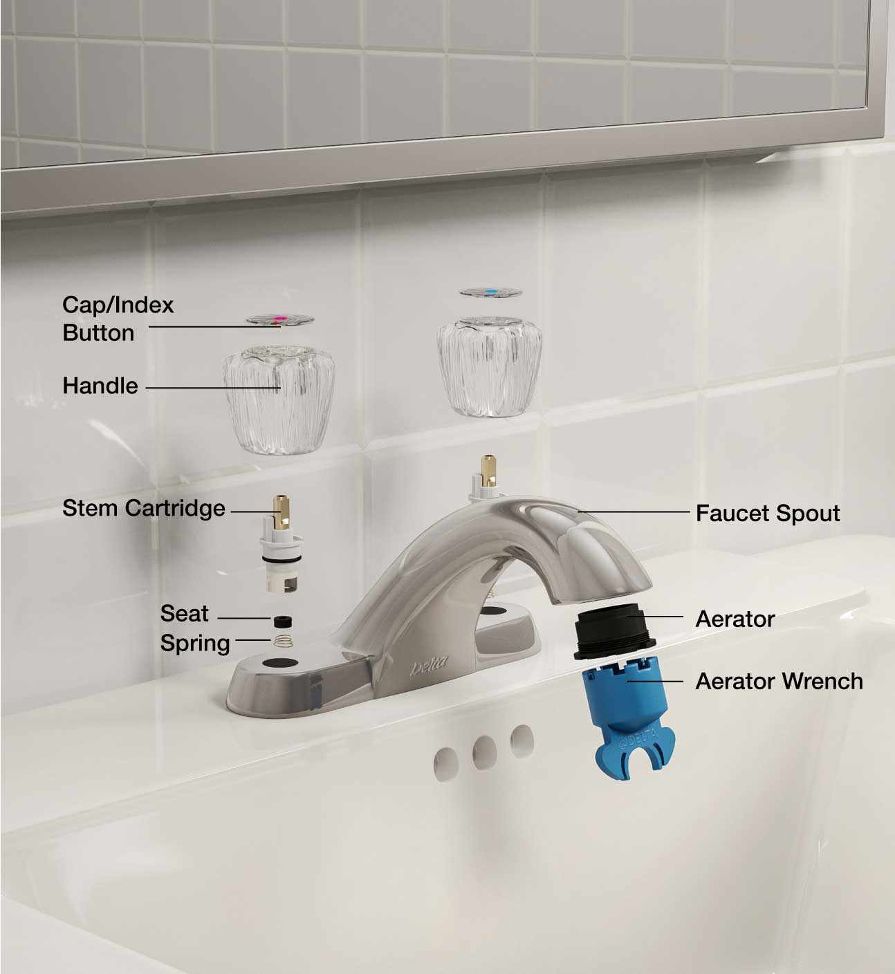 hight resolution of faucet parts