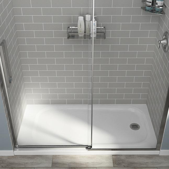 fiberglass shower base tile walls