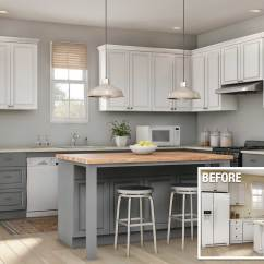 Kitchen Remodle Countertops Materials Cost To Remodel A The Home Depot Before And After Of Minor
