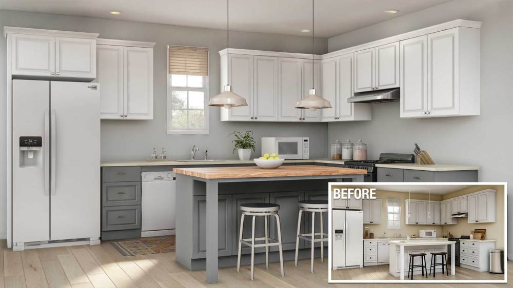 medium resolution of a before and after of a minor kitchen remodel