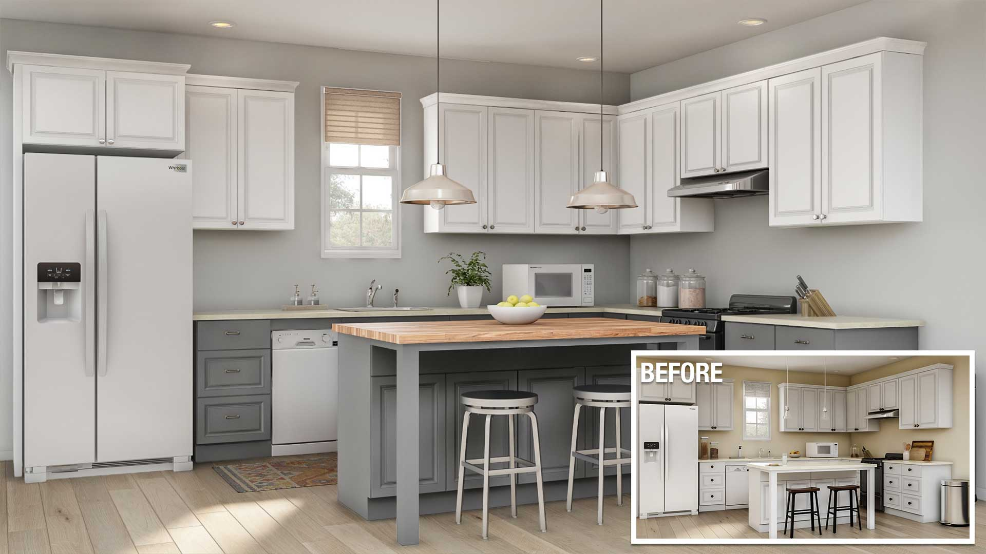 hight resolution of a before and after of a minor kitchen remodel