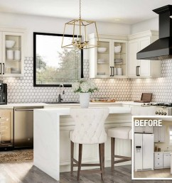 a before and after of an upscale kitchen remodel [ 1920 x 1080 Pixel ]