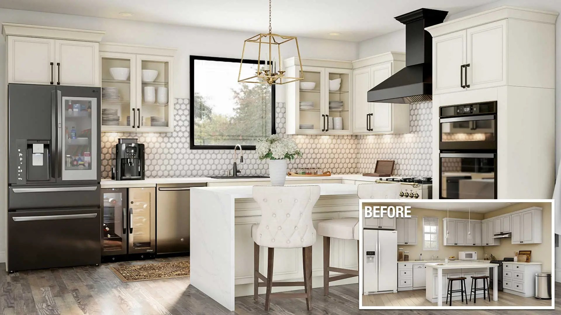 hight resolution of a before and after of an upscale kitchen remodel