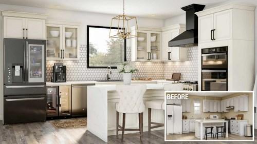 small resolution of a before and after of an upscale kitchen remodel