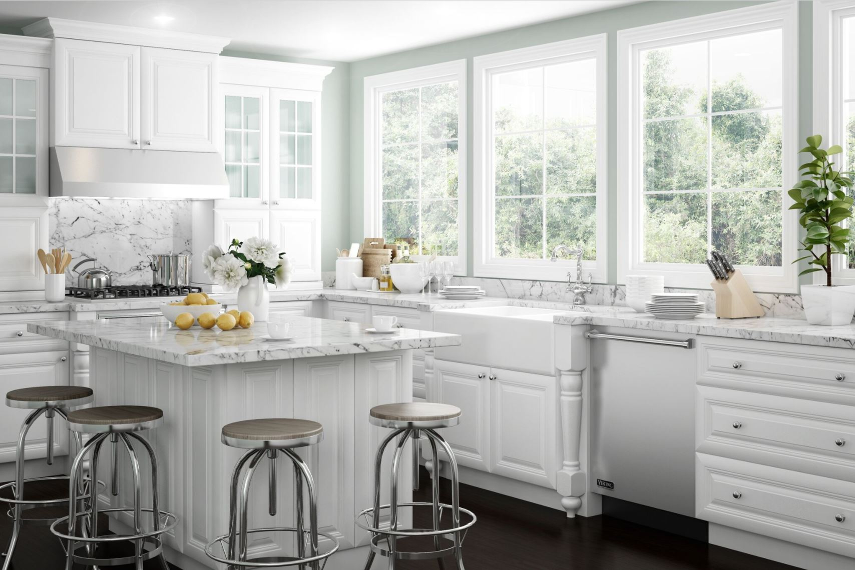 Brookfield Bath Cabinets in Pacific White  Kitchen  The