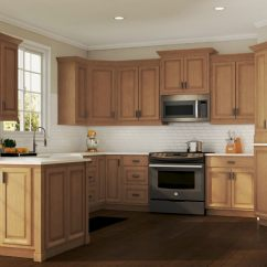 Oak Kitchen Cabinet Islands With Seating And Storage Hampton Wall Cabinets In Medium The Home Depot Bay