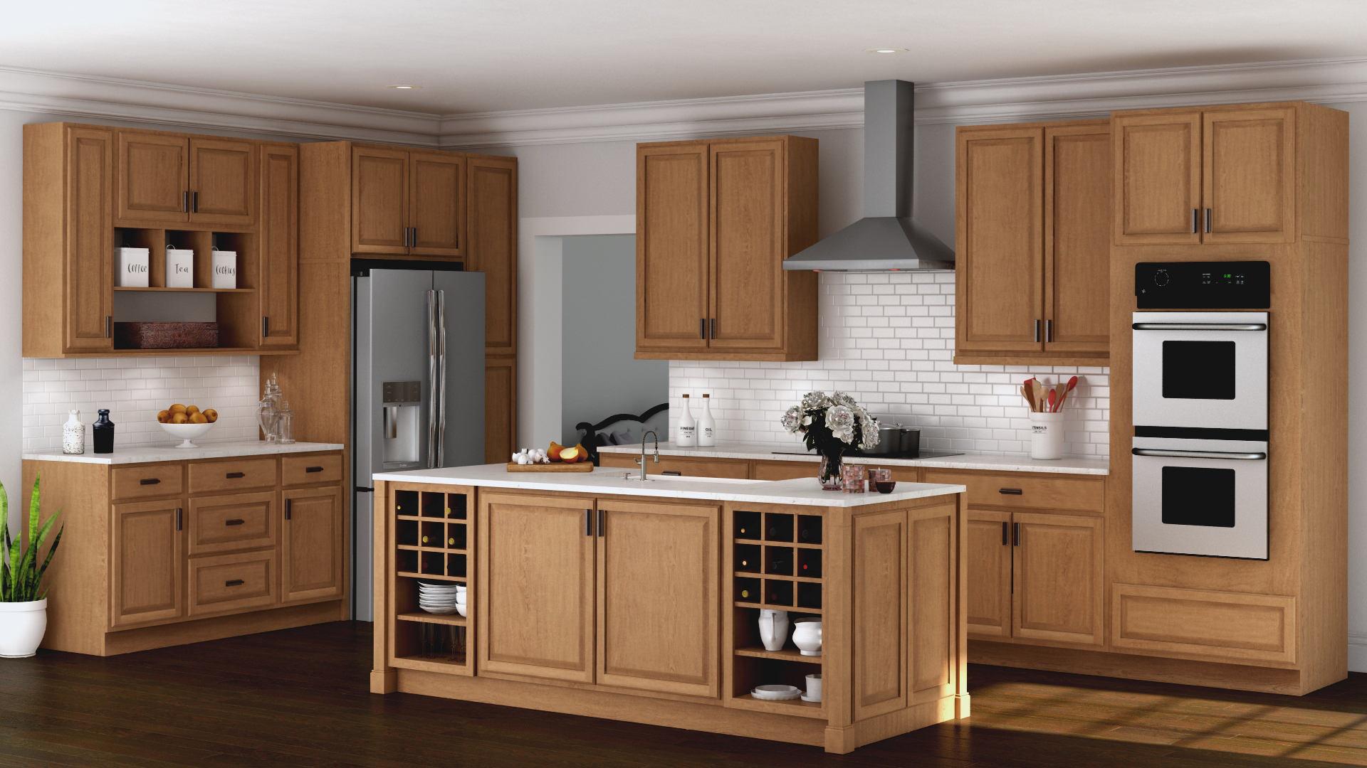 oak kitchen cabinet prefab cabinets hampton wall in medium the home depot bay