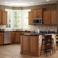Oak Cabinets Kitchen 7 Piece Table Set Hampton Wall In Medium The Home Depot Bay