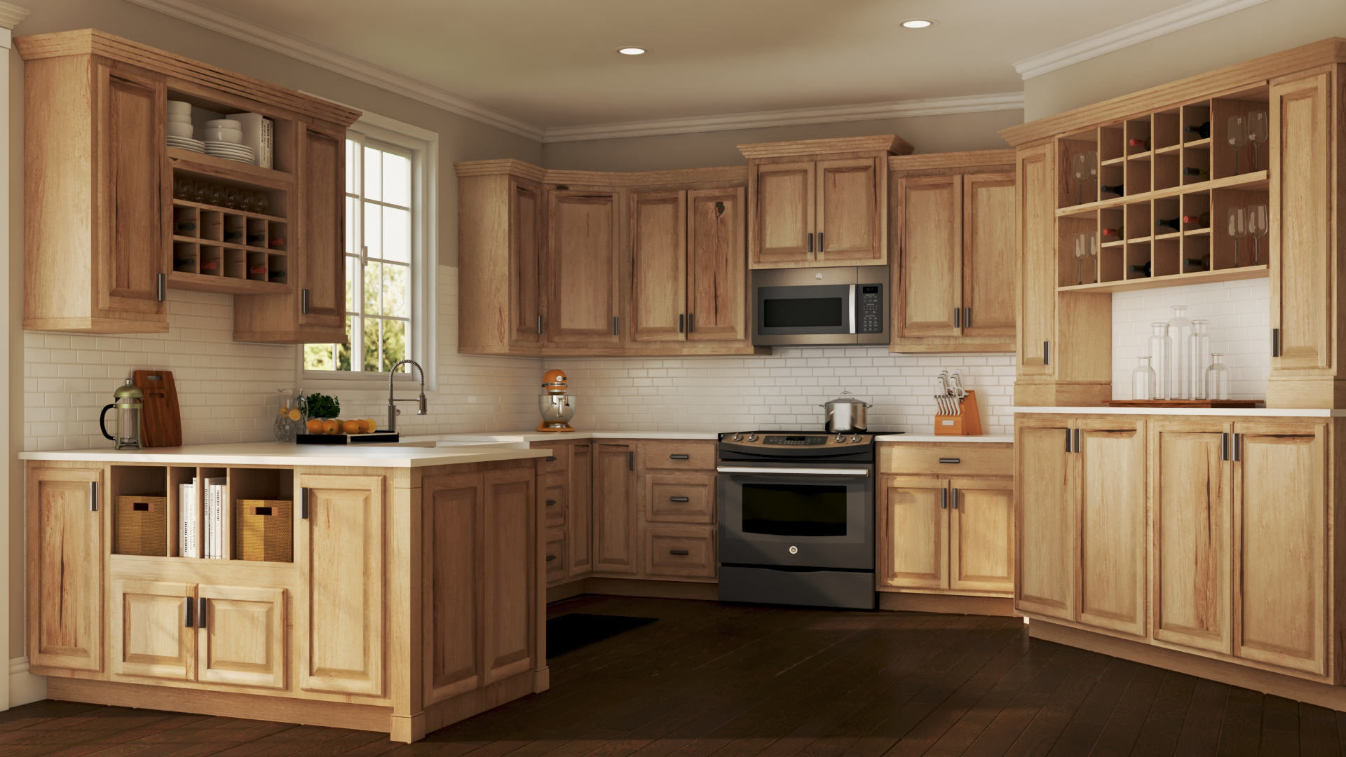 hickory kitchen cabinets rubbermaid storage containers hampton bath in natural  the