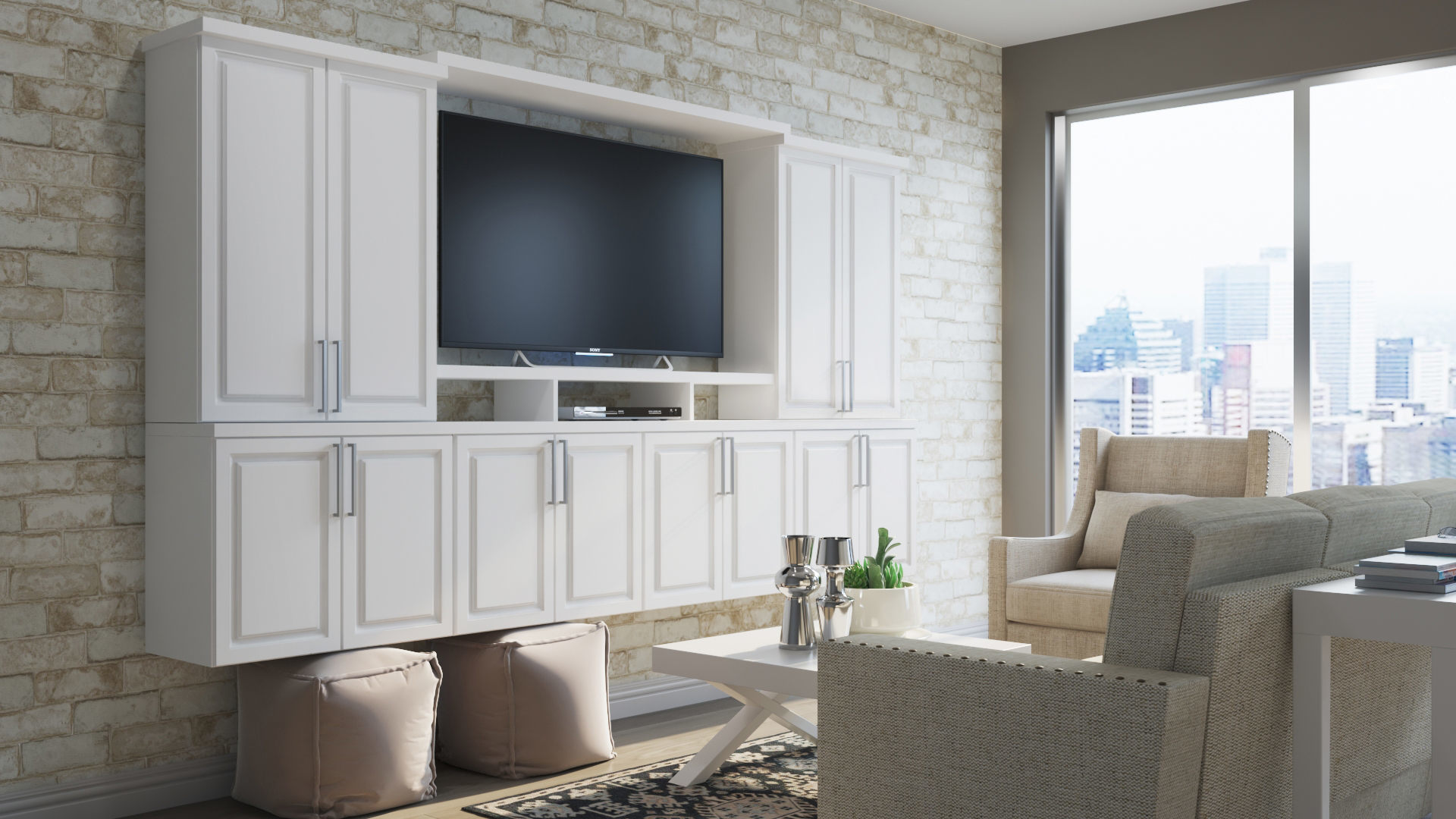Hampton Wall Cabinets In White Kitchen The Home Depot