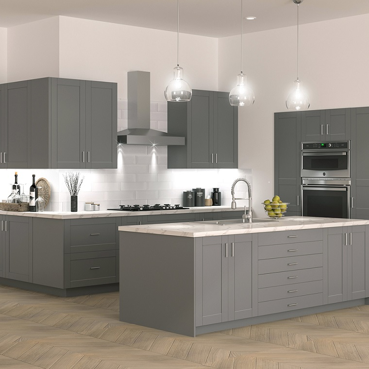 shaker pantry cabinets in gray