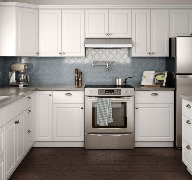 Madison Pantry Cabinets In Warm White Kitchen The Home Depot
