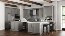 Shaker Wall Cabinets In Dove Gray Kitchen Home Depot