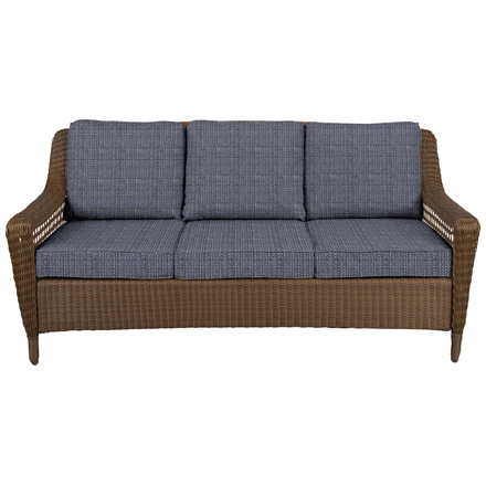 spring haven brown all weather wicker patio sofa kivik with chaise instructions collection outdoors the home depot hampton bay outdoor sky blue cushions