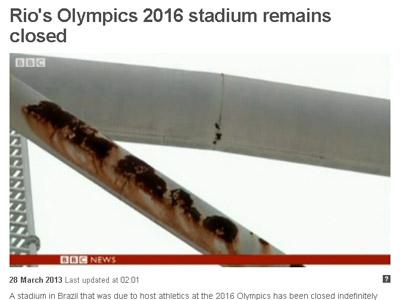 A BBC mostra vídeo com detalhes da deteriorização do estádio