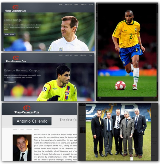Em seu site oficial, WCC, do italiano Antonio Caliendo, lista clientes: Dunga, Ederson, Maicon e QPR