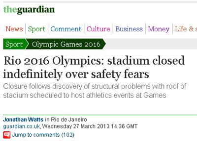 The Guardian lembra que o orçamento do estádio estourou