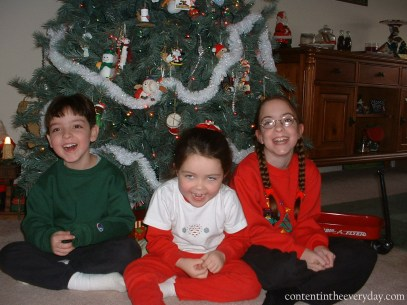 Children laughing at Christmas