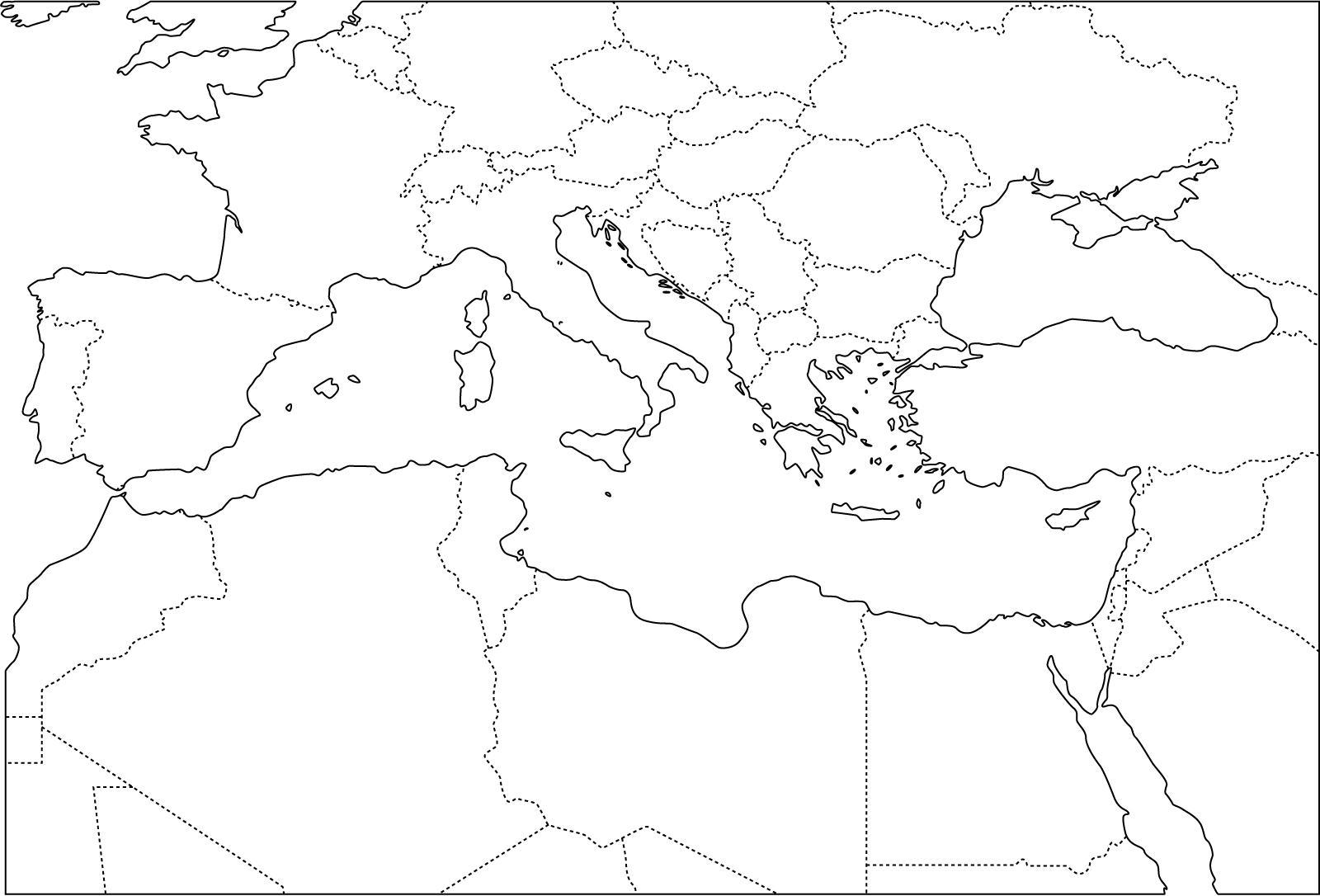 Mapa político mudo del Mediterráneo para imprimir Mapa de