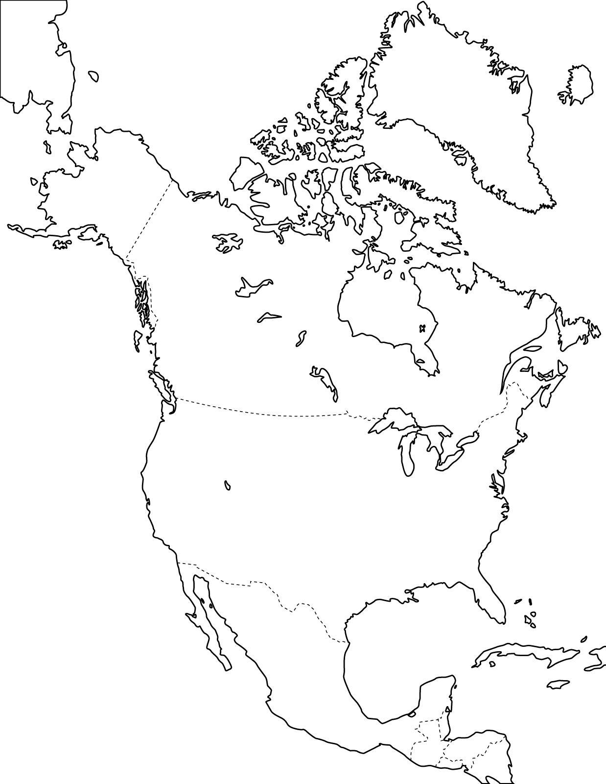 Mapa político mudo de América del Norte para imprimir Mapa